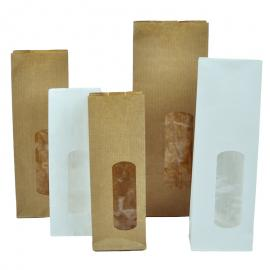 Papieren blokbodemzakjes met venster (per doos)