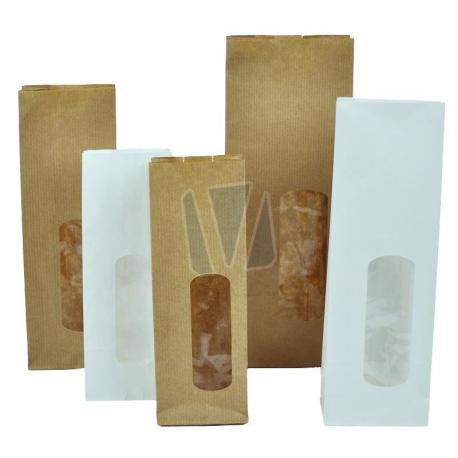 Papieren blokzakken met venster (per 25 stuks)