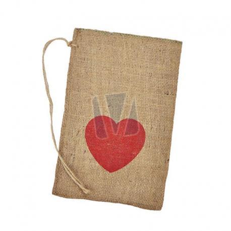 Jute zak met hartje 20 x 30 cm (per stuk)
