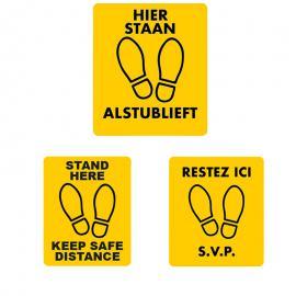 Vloersticker hier staan alstublieft (NL,EN & FR)
