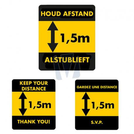 Waarschuwingssticker afstand 1.5 meter (NL, EN & FR)