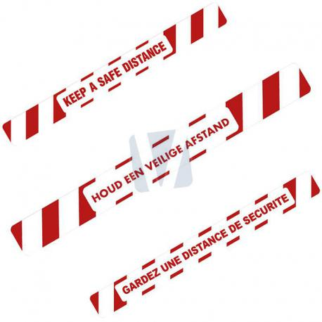 Vloersticker veilige afstand bewaren (NL, EN & FR)