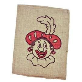 Jute zak Sinterklaas met Piet opdruk 45 x 60 cm